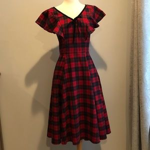 Collectif red and black tartan swing dress
